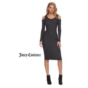 Juicy Couture Grey Ribbed Cold Shoulder Dress XS